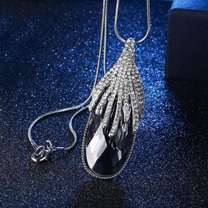 FU Мода кристалл и Rhinestone Капля воды Дизайн Подвеска Змея Длинные цепи ожерелье для Four Season Очаровательная для женщин