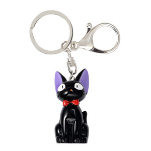 Kiki's Delivery Black cat Service Miyazaki Hayao Keychain Pendant keyring Cute Cat Animal Car key chain wholesale 24pcs lot