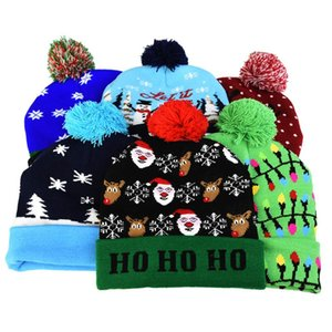 Christmas LED Hat Sweater knitted Glow Christmas Cap Adult Kids Favor Party Decoration for 2021 New Year Supplies