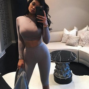 2 Piece Set Women Sexy Long Sleeve Top+Biker Shorts Track Suit Bodycon Tracksuit Casual Two Pieces Outfits Tight Sweatsuit T200528