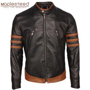 Men Genuine Leather Jacket For Man Bomber Skin Jacket 100% Natural Black Sheepskin & Brown Cowhide Slim Fit Male Skin Coat M305