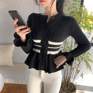 2020 Autumn Winter Women Sweaters Female Cardigan Knitted Coat Contrast Strip O-neck Dlim Elegant Office Lady All Match Tops
