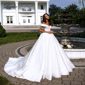 Liyuke pure white elegant ribbon connection wedding dress neck on V folden's shoulder