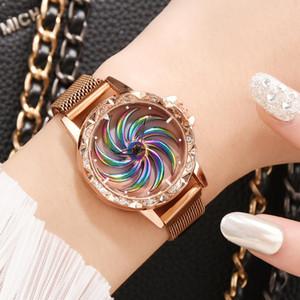 Women Luxtige Magnet Bracelet Montres 360 Tourner Creative Creative Lucky Dames En Acier Inoxydable Gold Quartz Montre Relogio Feminino