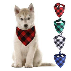 Köpek Bandana Noel Ekose Tek Katmanlı PET Eşarp Üçgen Önlükler Kıdemli Pet Aksesuarları Bibs Küçük Orta Büyük Köpekler için Xmas Hediyeler