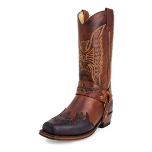 Winter Winter Western Cowgirl Cowboy Boots Vintage Mid-Vitel Shoes Square Tacco Stivali medievali Retro Cosplay High Martin