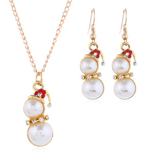 Christmas Snowman Gift Earring Necklace Set Thanksgiving Xmas Holiday Jewelry Pendant Necklace Dangle Earrings Set for Women Girls