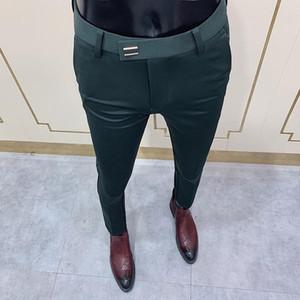 2021 جديد رجل السراويل الاجتماعية الأزياء ضئيلة زر البدلة بانت الرجال السراويل الخضراء شارع الملابس الرجال الأعمال سليم اللباس الصلبة دعوى بانت