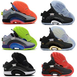 2021 Novo 35 XXXV Centro de Gravidade Bayou Meninos Crianças Homens Basquete Sapatos Esporte Sneaker Fragmento x 35 Jumpman Sport Blue Sliver Trainer Preto