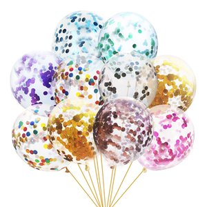 12inch 100pcs lot Multicolor Latex Sequins Filled Clear Balloons Novelty Kids Toys Confetti Ballons Birthday Party Wedding Decorations DHL