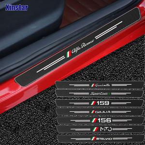 4 ADET Karbon Fiber Araba Kapı Sticker Alfa Romeo Giulia Giulietta için 159 156 Mito Stelvio 147 Sportiva Oto Aksesuarları