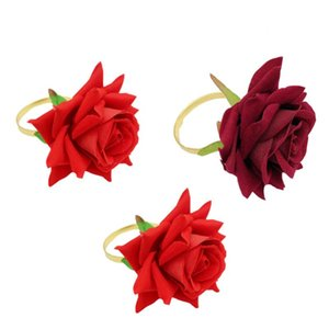 12 adet Simüle Gül Peçete Tokaları Otel Düğün Peçete Halkaları Dekor Kırmızı Çiçek Peçete Yüzük Masa Dekorasyon