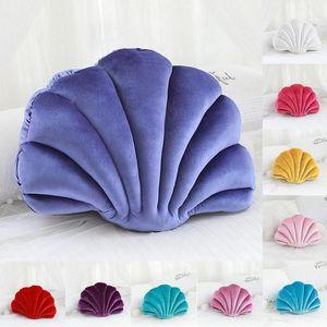 1pc Fantastic Velvet Pillow Sea Shell Home Decor Bed Cushion Sofa Home Princess's Pillow Shell Luxury Stuffed Decoration Fa K1I8