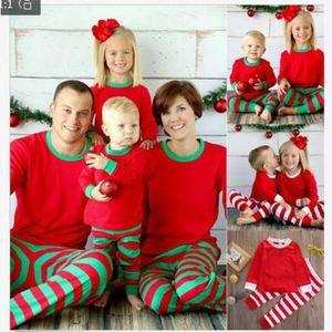 EU Stock 3 cores Xmas Crianças Família Adulto Matching Christmas Deer Pijama Listrado Pijamas Roupa de Noite bedgown sleepcoat nighty Pijama FY9250