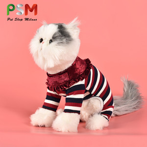 Warm Knitted Striped Sweater In Autumn and Winter Pet Coat Pink Fashion 100% Cotton Cat Dress Woman