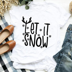 Women Funny Cute Snow Letters Clothing Holiday Merry Christmas Clothes Ladies Graphic Print Tee Top Tshirt Female T shirt