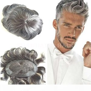Hot Sale 6inch 1B Mix Gray Malaysian Virgin Remy Hair Straight Toupee for Old Men Free Shipping