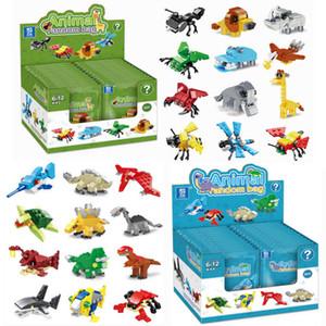 Kinder-Cartoon-Spielzeug-Blind-Box, kompatibel mit kleinen Partikeln zusammengebaut Baustein Tiermodell Blind Bag
