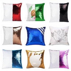 Sequins Mermaid Pillow Case Sublimation Cushion Cover 40X40cm Hot Transfer Printing DIY Decorative Sofa Pillows Case DDA635