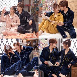Çift Pijama Takımı Yeni İnce Çiçek Baskılı pijamalar İpek Pajama Uzun Kollu Pijamas Kadınlar Hombre Casual Gevşek Erkekler Pijama Homewear Y # 666