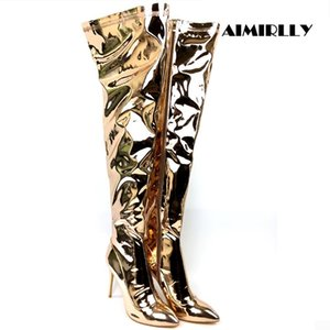 Womens Shoes Pointed Toe Over The Knee Boots Thigh High Metallic High Heels Ladies Party Clubwear Dress Shoes 12 13cm Aimirll