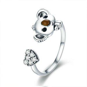 Gioielli in argento 925 Koala anello regolabile Animali striscia aperta per le donne