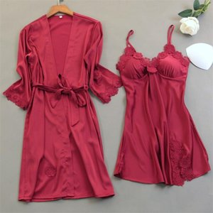 Ladies Sexy Red Lace Home Wear Night Dress with Chest Pads Women Robe Gown 2Pcs Sets Satin Pajamas