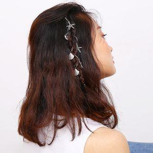 2021 мода модные парины боготянутые дредлок изброс из бисец золота / посеребренные регулируемые волосы оплетки для волос морская звезда оболочка манжеты зажимный обруч новый