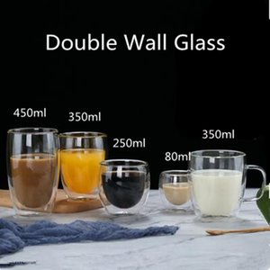 Verres isolés à double mur Tasse à café Espresso 80/250/350/450 ml Thé de thé transparent résistant à la chaleur Tasse de tasse de verre de verre boissons Q1218
