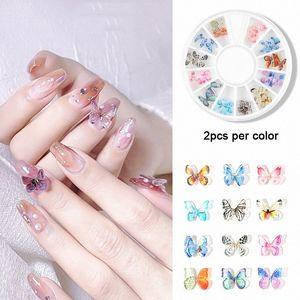 24pcs / Set 3D résine papillon ongles bijoux 3D Nail art Charms décorations à la main Mini papillon DIY manucure fournitures
