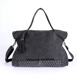 Rivet Vintage PU кожа сумка женщин 2020 кисточка Zipper Messenger плечо мешок Larger Top-ручка сумка Офис