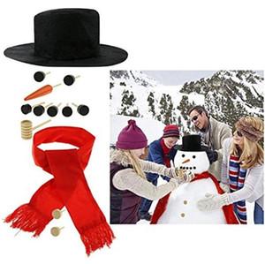DIY Snowman Decorating Dressing Kit inverno vacanza all'aperto regalo di natale regalo cappello sciarpa tubo occhi bocca pulsante accessori naso 1 set = 16pcs
