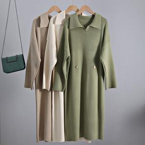 GIGOGOU Maxi-Herbst-Winter-Frauen-Kleid-Turn-Down-Kragen-Knopf Definierte Taille Pullover Kleider starker warme Pullover Midi-Kleid C1009