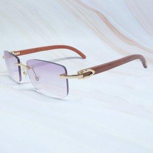 Rimless Glass Sol For Wood Luxury People Sunglasses De Men Square Frames Carter Gafas Women Hombre Designer Brand HY3V Tutvh