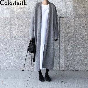 Colorfaith New 2020 Autumn Winter Women's Sweaters Korean Style Fashionable Minimalist Solid Color Casual Long Cardigans SWC8858 Q1115