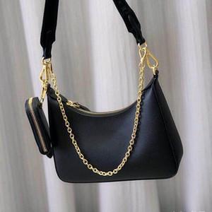 hombro de cuero del bolso de señora Hobo bolso crossbody genuina por mujeres de los bolsos de la moda cadenas de los bolsos del monedero del bolso del mensajero de la cadena de cuero del hobo