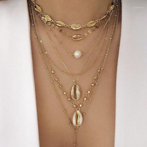 Tocona Punk Chain Gold Color Beach Shell Conch Pearl Beads Multistorey Pendant Necklace For Women Boho Party Jewelry C192081
