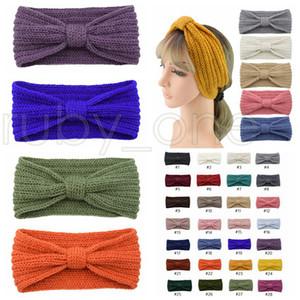 28 Renkler Geniş Stretch Headwrap Turbans Parti Favor RRA3744 Kış Örme Kafa Kadınlar Kulak Isıtıcı Knot Hairband Lady Tığ