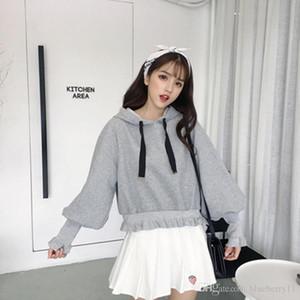 2020 Sweater Female Lantern Sleeves Plus Velvet Hooded Solid Color Puff Sleeves Short Lace Thread Long Sleeve Jacket