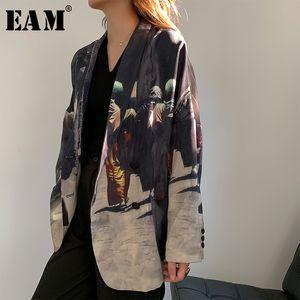 [eam] المرأة السوداء المطبوعة الظهر مخطط كبير الحجم السترة جديدة طية صدر السترة طويلة الأكمام فضفاضة تناسب سترة أزياء ربيع الخريف 1W486 201102
