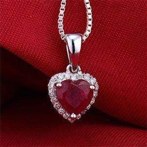 LOVERJEWELRY sólido 18K White Gold Diamante rubi vermelho colar pingente coração Sem Colar de cadeia TRANSPORTE LIVRE 1027