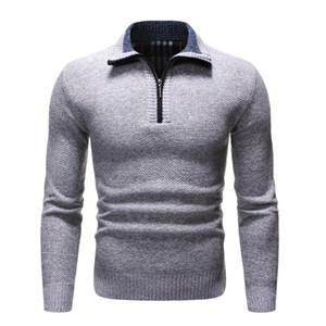 2021 Spring Homme Pull en épaisseur chaude chaude chaude Hommes Solid Casual Coup de turtleneck Sweaters à moitié zip hiver chaud pull-over