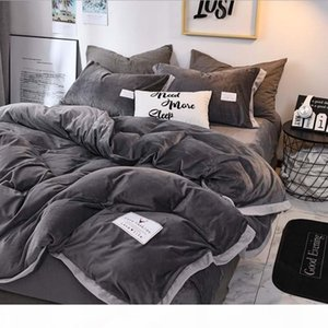 FB18003 Popular Luxury Crystal Bedding Set Duvet Cover Sheet 4pcs set Winter Bed Linen King Queen Size Velvet Home Textile