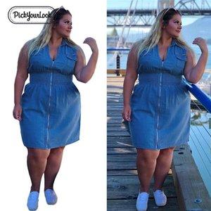 Yaz Boyun Boyut Artı Mavi Mini Büyük Moda V Kadınlar Cep Kolsuz Elbise Fermuar Denim Kadın Lady Pickyourlook sqcAom pp2006