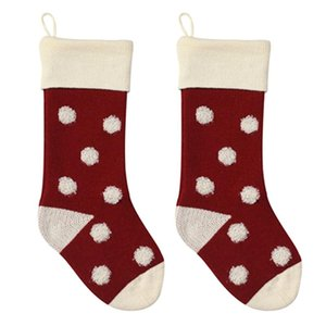 2pcs Christmas Stockings Cute Candy Pouch Party Gift Bag Festival Knitted Acrylic Home Portable Polka Dot Pattern Hanging DIY