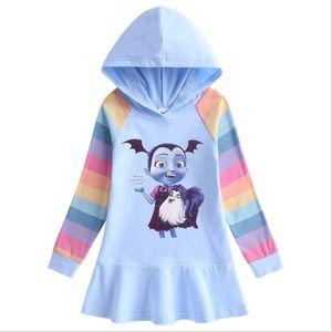 3 a 10 años de edad Vampirina otoño nuevo algodón arco vestido de niña Niños de manga larga de la falda del suéter encapuchado
