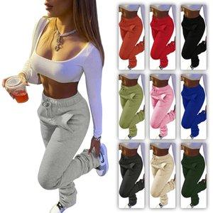 Damen Hosen Solid Color Heavy Sweater Stoff Sport-beiläufige Kordelzug Hose Stapel mit Taschen Damen neue Art und Weise Gamaschen