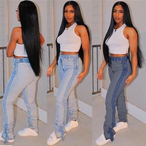 Calças de jeans empilhadas de patchwork Mulheres Calças Lápis Alto Stretch Stretch Namorado Namorado Denim Calças Leggings Atacado Dropshpping