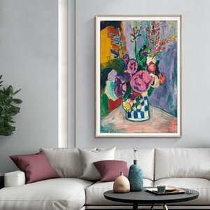 Vintage Matisse Peonies Flower Canvas Oil Paintings Master Poster Prints DIY Wooden Frame Wall Art Pictures Kitchen Home Decor