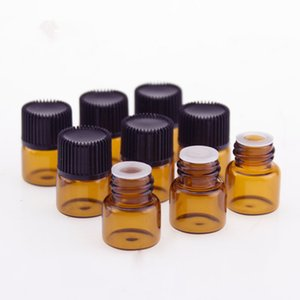 100pcs 1ml Amber Glass Refill Bottle Empty Essential Oil Bottles Perfume Mini Small Refillable Packaging